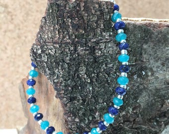Agate two colour Bracelet - indigo blue and turquoise