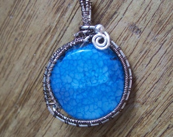 Blue Agate Pendant Silver Plated Copper Wire Weave Boho Jewellery