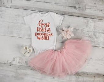 girl valentine shirt, baby first valentines outfit, hugs kisses and valentine wishes shirt, baby girl valentines day, girl valentines outfit