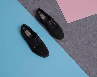 black oxfords flats size 37 venturini real leather vintage flat shoes black suede flats low heel oxford shoes vintage tie shoes