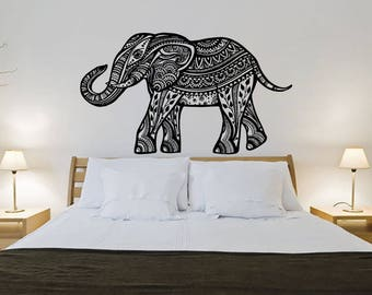 Elephant Wall Decal Boho Decals Indian Boho Bedding Home Decor Elephant Decal Nursery Bedroom Yoga Studio Decor Vinyl Sticker S104
