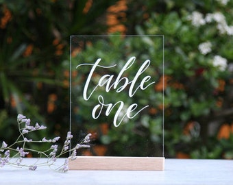Acrylic Wedding Table Numbers. Bridal Table. Wedding Table Decoration. Event Decor. Table Decoration. Perspex Wedding Signage. Hand-Lettered