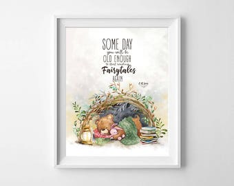 Some Day You Will Be Old Enough Home Watercolor Nursery Print, Home Art Home Baby Nursery Poster, Whimsical Nursery Poster, Baby Shower Gift