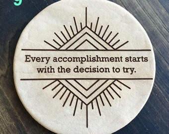 Every Accomplishment - Inspirational Quotes Leather Coasters
