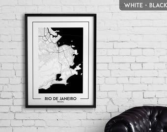 RIO DE JANEIRO map digital download, Rio de Janeiro poster, Rio de Janeiro wall art, Rio de Janeiro city map, Rio de Janeiro map decor