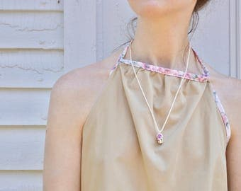 Rose Bead Necklace - Handmade, Boho, Minimal
