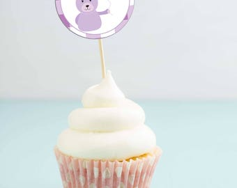 Printable Teddy Bear Cupcake Toppers - Teddy Bear Picnic - Purple Gingham - Teddy Bear Birthday Party - Cupcake Topper - Birthday Printable
