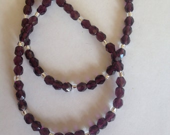 Amethyst crystal glass necklace purple necklace crystal necklace beaded necklace handmade necklace