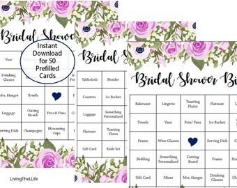 50 Prefilled Bridal Shower Gift Bingo Cards | Set of 50 | Digital Download File