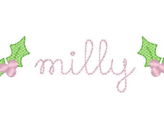 Vintage Stitch Name With Holly & Berries