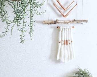 Driftwood Wall Hanging with Wool and Copper Accents || Boho Mini's Series