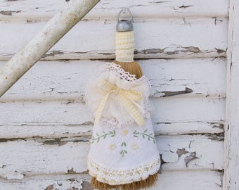 Vintage Farmhouse Slip Covered Whisk Broom - Vintage linens and lace - yellow and white