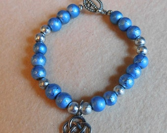 Blue & Silver Charm Beaded Bracelet