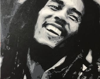 Bob Marley Hand painted portrait. Acrylic on stretched canvas.
