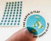 "Mini Flat Earth Stickers - azimuthel equidistant with ""Earth is Flat"""