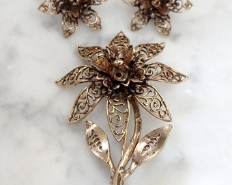 Vintage Filigree Brooch and Earring Set with Box Free Shipping Within USA