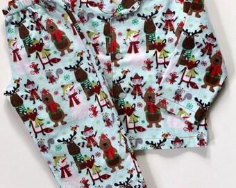 Boys Cotton Flannel Pajamas - Winter Woodland Animals - Classic Style - Size 5