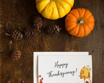 Thanksgiving card  printable, Thanksgiving invite with watercolor design