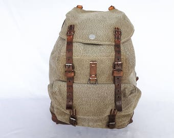 Army bag Switzerland, 1952, vintage leather and canvas hiking bag