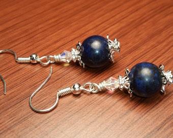 Navy Blue Denim Gemstone AB Crystal Silver Plated Capped Handmade Drop Dangle Wire Earrings