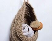 Crocheted Twine Hanging Basket / Handmade