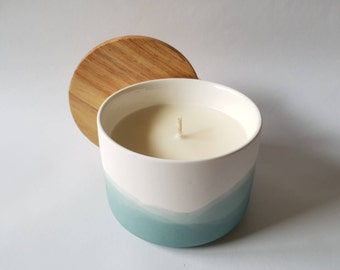 Sage, Ceramic, Beech Timber 100% Soy Candle. Glazed ceramic inside makes this a reusable storage container post candle.