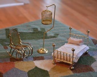 3 Piece Vintage Brass DOLLHOUSE Furniture