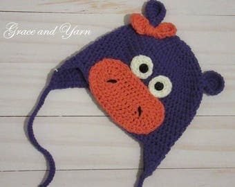 Crochet Hippo Earflap Hat, Girl