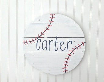 Baseball Name Wood Sign / Reclaimed Wood / Sports Theme Nursery Decor / Wall Sign / Boy Room / Baby Shower Gift / Custom / Personalized