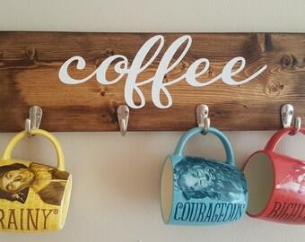 Coffee Mug Hanger, Mug Rack, Rustic Hanger, Kitchen Decor, Home Decor, Home Storage, Housewarming Gift, Coffee Cup Holder, Coffee Rack