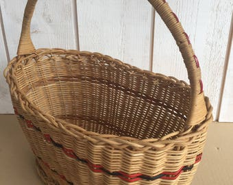 Vintage wicker basket, rattan, market basket
