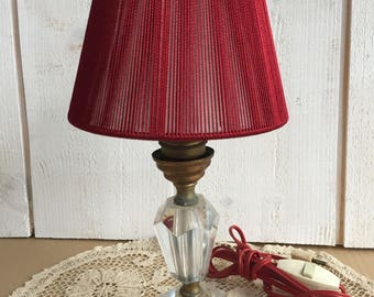 Table lamp with Lampshade, lamp in glass and brass, old lamp