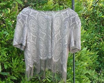 Vintage Peekaboo Shrug, Cream Colored Capelet, Tan Shawl, Bolero Fringe, Cowl with Tassels, Black and Beige Tassels, Geometric Dress Cover