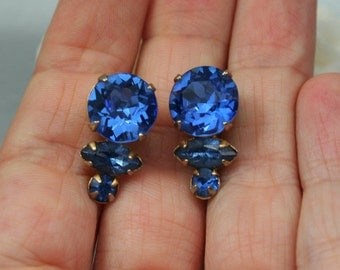 Cobalt Blue Earrings, Vintage Screwback Earrings, Sparkling Rhinestone Earrings, Tiered Tassle Earrings, Sapphire Earrings, Big Rhinestones