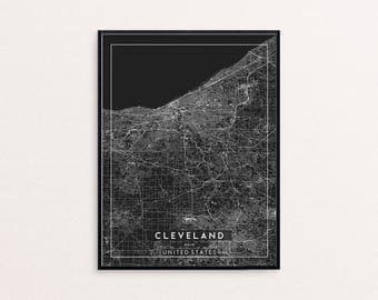 Cleveland Black City Map Print, Clean Contemporary poster fit for Ikea frame 24x34 inch, gift art him her, Anniversary personalized travel