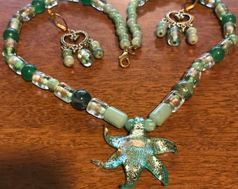 Green Starfish Glass Bead Necklace and Earring Set
