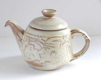 Frankoma Pottery Mayan Aztec 7T Teapot