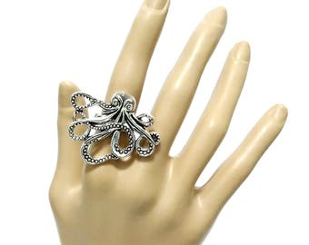 ring octopus silver adjustable one size kraken chtulhu lovecraft sea ocean gothic occult boho