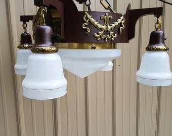 1930's Brass Art Deco Lamp Chandelier, Restored, GORGEOUS, SHIPPING INCLUDED