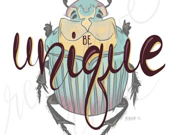 Be Unique, Wall art, Home Decor, Digital Art Print, Beetle,