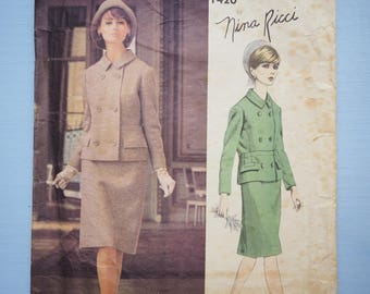 Vogue 1420 Paris Original Nina Ricci 1950s designer suit, jacket coat, skirt vintage retro sewing pattern size 16 bust 36 inches or 91cm