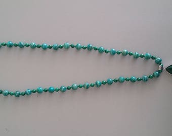 Amazonite and Malachite Necklace with Malachite Pendant