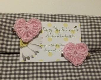 Love Heart Hair Clip | Crochet Hair Accessory | Handmade | Baby Shower Gift