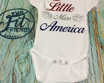 Little Miss America Independence Day Fourth of July One Piece Baby Romper Outfit 4th Fireworks Girl Newborn