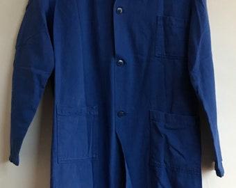 French vintage Blue, garage workwear,Size S, overalls, garage-coat, overalls, bleu de travail,Sanfor Moleskin Denim Salopettes