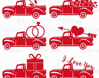 Valentine Truck SVG, truck valentine svg, Happy Valentine's Day svg, Svg Files for Silhouette Cameo or Cricut Commercial & Personal Use.