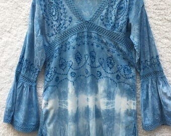 Indigo Hand Dyed Tunic / Boho Clothing
