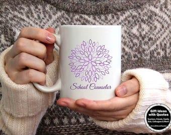 Counselor Gift, School Counselor Appreciation Week, School Counselor Mug, School Counselor Coffee Cup, Christmas Gift Idea, Purple Flower