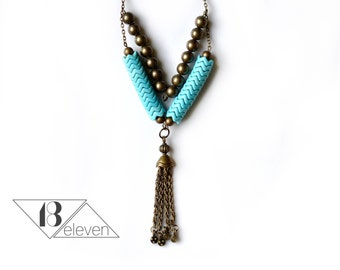 Turquoise Beaded Chain Tassel Necklace, Vintage Brass Chain Tassel, Turquoise and Brass Beaded Necklace