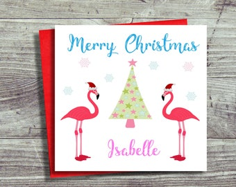 Personalised Christmas Card, Flamingo Christmas Card, Tropical Christmas, For Daughter, Sister, Mother, Aunt, Friend